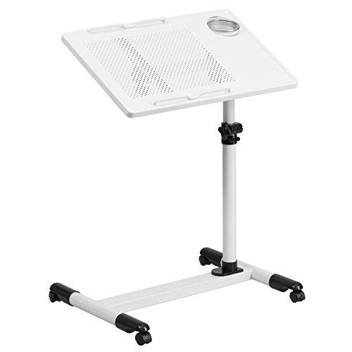 Flash Furniture White Adjustable Height Steel Mobile Computer Desk by Flash Furniture