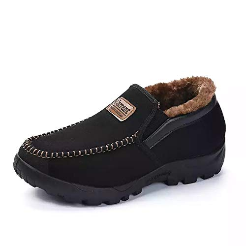 Men's Snow Boots Moccasins Slippers Slip-on Plush Loafers Warm Fur Lined Walking Driving Shoes Indoor Outdoor Short Boot Winter(8.5-9 M US,26 cm Heel to Toe