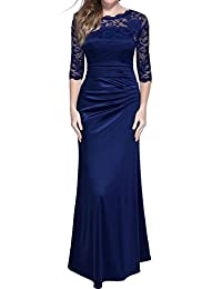 Miusol Women's Retro Floral Lace Vintage 2/3 Sleeve Slim Ruched Wedding Maxi Dress
