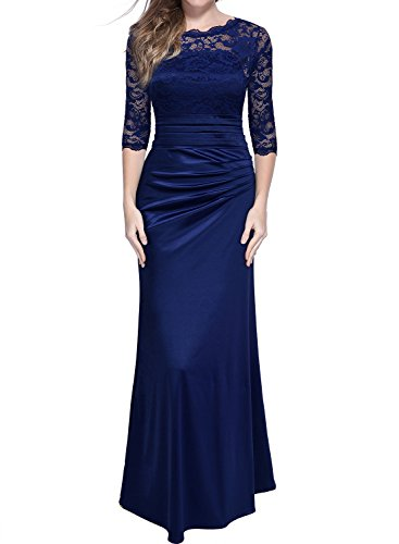 Miusol Women's Retro Floral Lace Vintage 2/3 Sleeve Slim Ruched Wedding Maxi Dress,Navy Blue,Large (Long Mother Bridesmaid Dress)