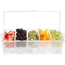 Ice Chilled Condiment Server Clear with 5 Removable Compartments and Lid - Safely Chill 5 Types of Condiments  - Easy to Clean