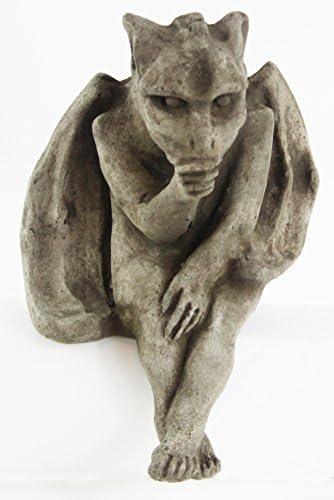 Sitting Gargoyle Concrete Home and Garden Statues Cement Igor French Sculpture European Cast Stone Figure All Weather Statuary Garden Statue Art