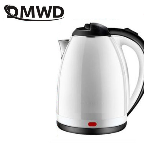 DMWD Stainlesss steel electric kettle boiler hot water heating kettles teapot Household tea pot heater anti-dry 1.8L EU US plug (White) by DMWD