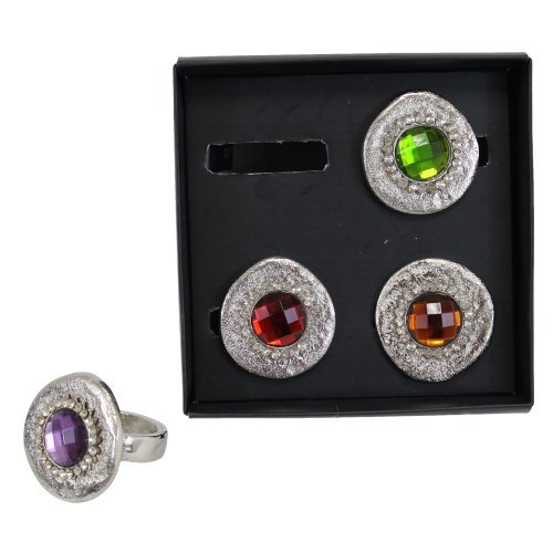 Leda Metal Desk - TIC Collection 16-750 Leda Napkin Rings, Set of 4