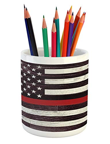 Lunarable American Flag Pencil Pen Holder, US Firefighter Support with Grunge Wooden Stars and Stripes, Printed Ceramic Pencil Pen Holder for Desk Office Accessory, Coconut Dark Mauve Vermilion