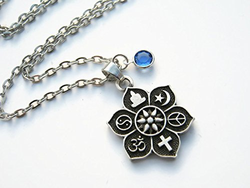 Amazoncom Personalized Coexist Necklace Birthstone Lotus Flower