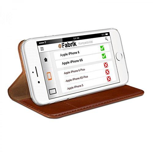 eFabrik Case für Apple iPhone 6 / iPhone 6S Tasche braun Hardcase Schutz Hülle Schutztasche Handy Cover Leder-Außenseite / Innen Textilgewebe