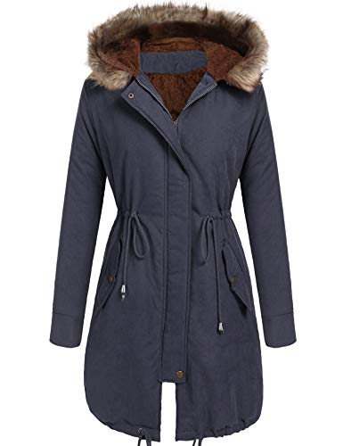 Beyove Women Winter Warm Hoodie Faux Fur Lined Down Parka Outdoor Long Jacket Coats ()