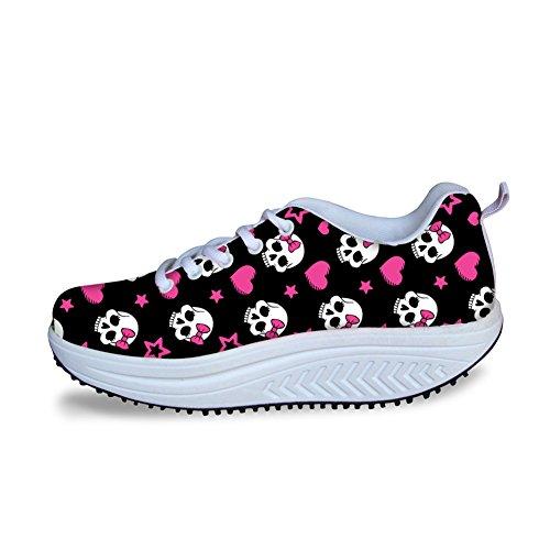 Per Te Disegni Moda Stampa Cranio Fitness Walking Sneaker Casual Zeppe Donna Zeppe Rosa Cranio 1