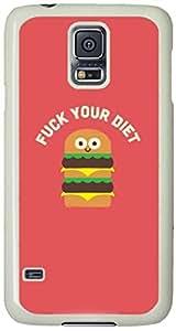 Fuck your Diet Cartoon Pattern Samsung Galaxy S5 Case with White Skin