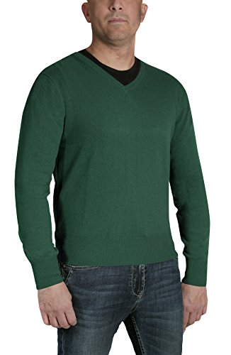 Invierno Hombre American En Manga 1st Suéter Para 100 Verde V Pulòver Prendas Cashmere Larga Punto De Cachemira Cuello nZWHPqRW