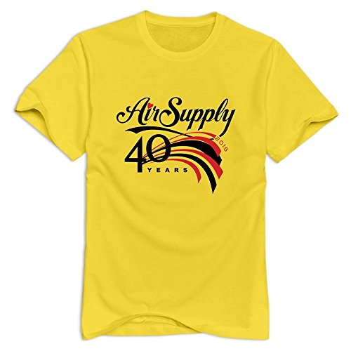 Yellow VAVD Male's Air Supply 40 Years Roundneck T Shirts Size XXL