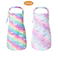 PASHOP 2 Pack Kids Unicorn Bib Apron with Pocket Child Adjustable Rainbow Chef Apron Kitchen Aprons Children Artists Aprons for Cooking Baking Painting (Large/6-8 Years)