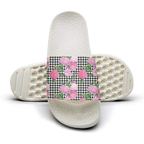 K4RK4MF Floral Seamless Houndstooth with Pink Peony Flower Unisex Slides Shoes Cute Slip Resistance Sandals for Womens' Men Bedroom