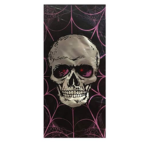 Light Up Glowing Halloween Door Cover Wall Poster for Halloween Decoration or Backdrop Prop (Scary Skull Glowing Eyes)