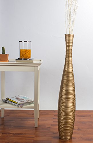 Tall Floor Vase 36 inches, Wood, Gold (Tall Floor 36 Inch Vases)