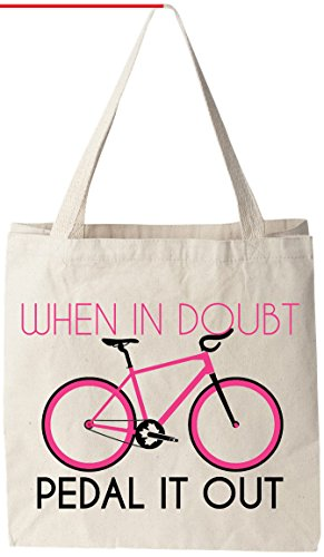 "Piccolo Wallet Prima - When In Doubt Pedal It Out - Natural Cotton Canvas Tote Bag 12 Oz (11""X14""X5"") Reusable Ideal for Groceries, Shopping, School and Office Use"