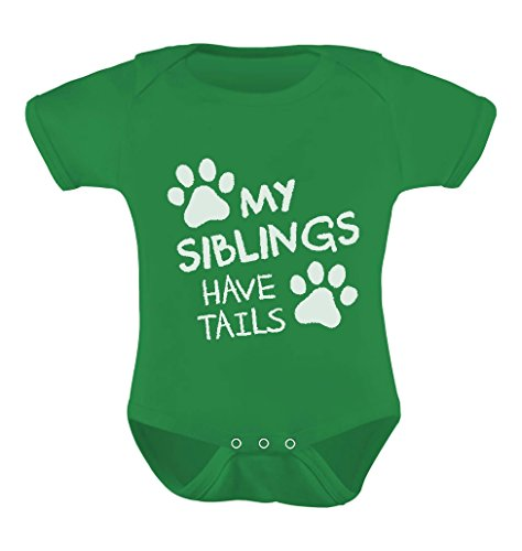 TeeStars - My Siblings Have Tails Funny One-Piece Infant Baby Bodysuit 6M Green