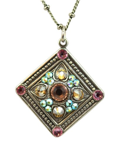 Anne Koplik Silver Plated Square Shaped Pendant Necklace with Spades and Studs Anne Koplik Jewelry