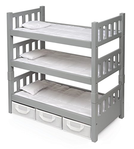 (Badger Basket 1-2-3 Convertible Doll Bunk Bed (fits American Girl Dolls), Gray/White)