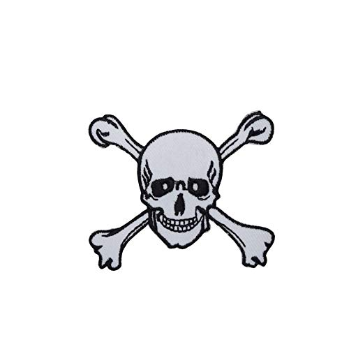 Small Skull and Cross Bones Iron on Embroidered Patch
