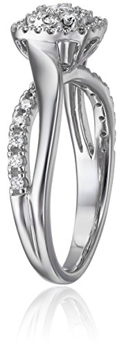 IGI Certified 14k White Gold Diamond Galaxy Cluster Twist Bypass Engagement Ring (3/8cttw, H I Color, I1 I2 Clarity)