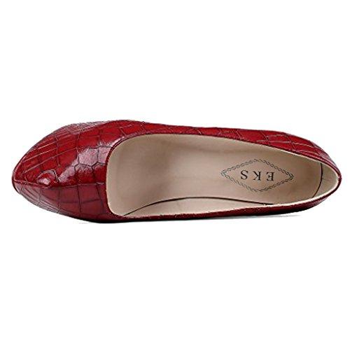 EKS Coppy Red Pumps Classic Y Hide Women's 069 Leather Stiletto Platform qrtrvw