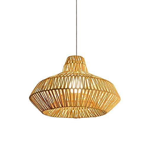 - CGJDZMD Nature Hand Knitted Bamboo Pendant Lights Chandelier Creative Led Wooden Dinning Room Ceiling Pendant Lamp 1-Lights Rattan Droplight Restaurant Bar Suspension Lantern