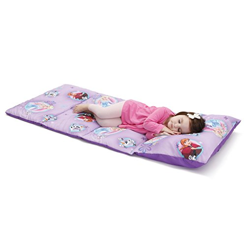 Disney Frozen Padded Toddler Easy Fold Nap Mat with Attached Pillow Case - Purple,Blue