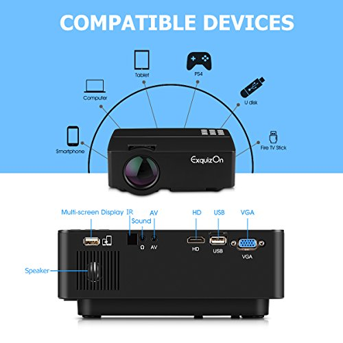 Exquizon lcd video projector portable home projector with for Portable projector with hdmi input