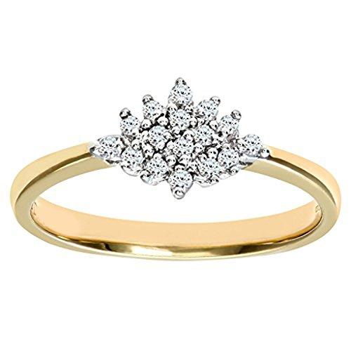 Mglmahi Or jaune 9ct Diamant Look Cluster Bague pour femme