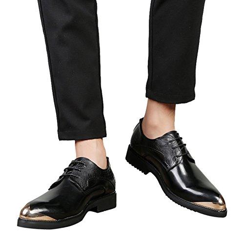 tip Mens Lace up Black shoes Alligator Silver Shoes Dress Wingtip Black metal Casual Leather Santimon RBXSqHB