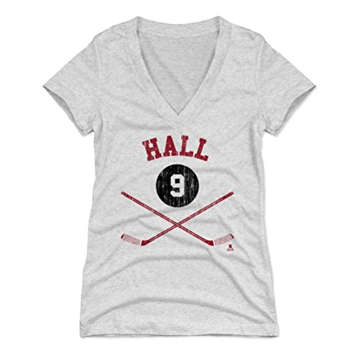 500 LEVEL's Taylor Hall Women's V-Neck Shirt Large Tri Ash - New Jersey Hockey Fan Apparel - Taylor Hall Sticks R