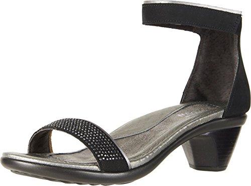 NAOT Footwear Women's Progress Heel Black Velvet Nubuck/Sterling Lthr/Black w/Metal Rivets 7 M US