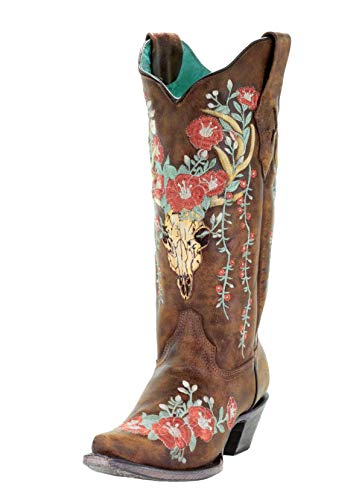 CORRAL A3652 Tan Deer Skull Overlay and Floral Embroidered Boots (9.5)