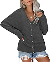 Gognia Women's Button Down Tops V Neck Tunic Casual Long Sleeve Loose Pullover Blouse