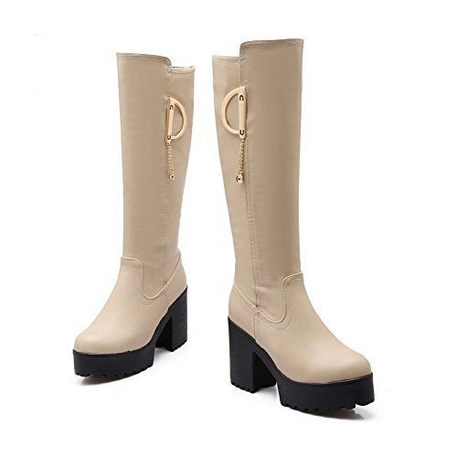 Allhqfashion Women's Round Closed Toe High-Heels Blend Materials Solid Knee-high Boots Beige 7cUP6a