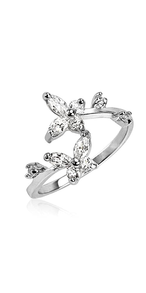 Silver-Tone Clear CZ Butterfly Toe Ring Size Adjustable Nose Ring Bling NSC3223