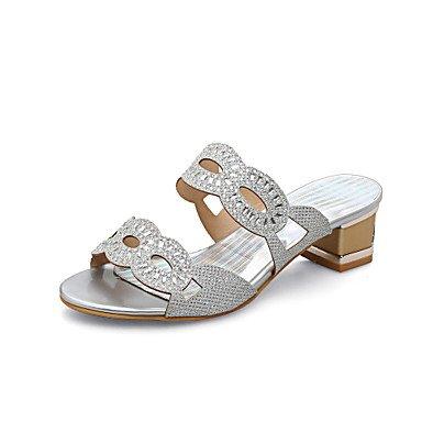 Zapatillas &Amp; comodidad verano Flip-Flops Materiales personalizados parte &Amp; traje de noche casual Chunky tal¨®n Rhinestone Plata Oro caminando US4-4.5 / EU34 / UK2-2.5 / CN33