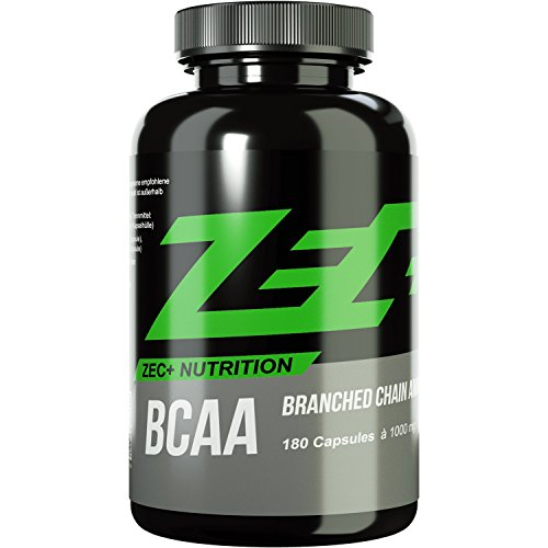 ZEC+ BCAA Kapseln | essentielle Aminosäuren | BCAAs - verzweigtkettige Aminosäuren | L-Leucin, L-Valin, L-Isoleucin im Verhältnis 2:1:1, hochdosiert | 1000 mg pro Kapsel | ideal für Muskelaufbau und Regeneration | 180 Kapseln