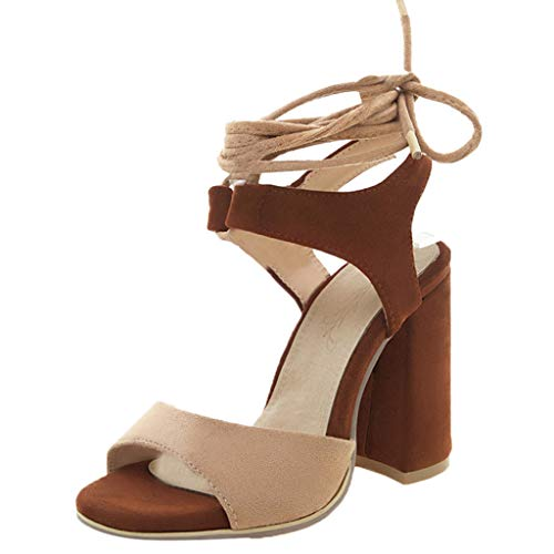 Women's Summer Elegant Sandals Shoes Ladies 2019 Hot Lace Up Fish Mouth Fashion Open-Toe High Heel Anke Strap Sandals QWQ (Brown, -