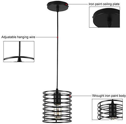 Black Pendant Light Edison Ceiling Hanging JOOSENLUX E26 Vintage IndustrialFarmhouse Pendant Lights Fixtures for Kitchen Island Dinning Room 2 Pack