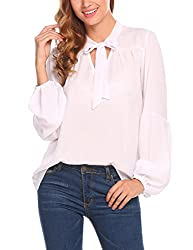 Se Miu Womens Long Puff Sleeve T Shirt Round Neck Blouse Solid Casual Top White S