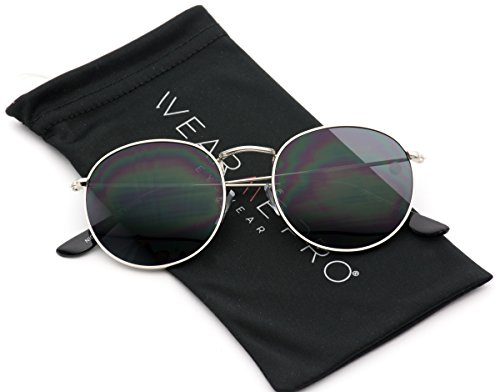 WearMe Pro - Reflective Lens Round Trendy Sunglasses (Silver Frame / Black Lens, - Reflective Lenses Sunglasses
