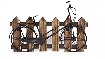 Black Bicycle Against Picket Fence Decor