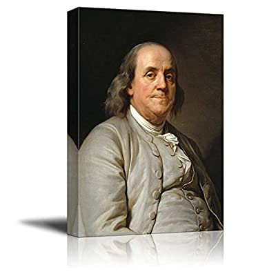 Portrait of President Benjamin Franklin by Joseph Duplessis - Canvas Print Wall Art Famous Painting Reproduction - 12