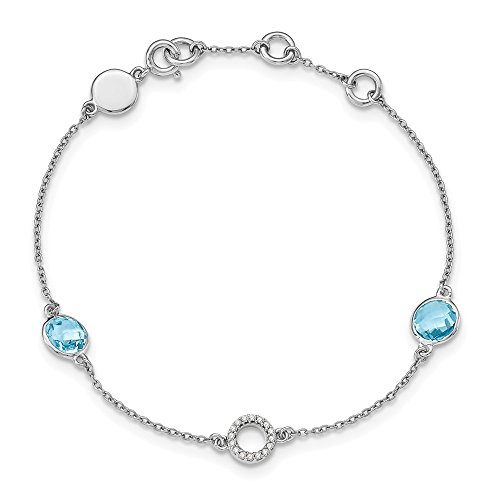 925 Sterling Silver Blue Topaz .05 Ct Diamond Bracelet 7.25 Inch Gemstone Fancy Fine Jewelry Gifts For Women For -
