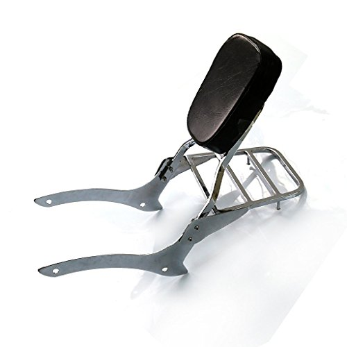 Chrome Backrest Sissy Bar With Luggage Rack Backrest Pad For Yamaha V-Star XVS 1100 Custom Classic 2000-2011 ()