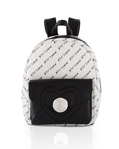 Betsey Johnson Women's Heart Lock Backpack Black/White