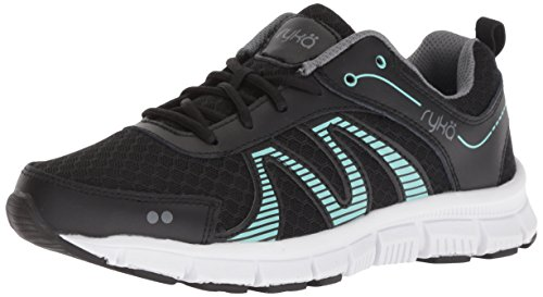 Ryka Women's Heather Cross Trainer, Black/Mint, 9.5 M US